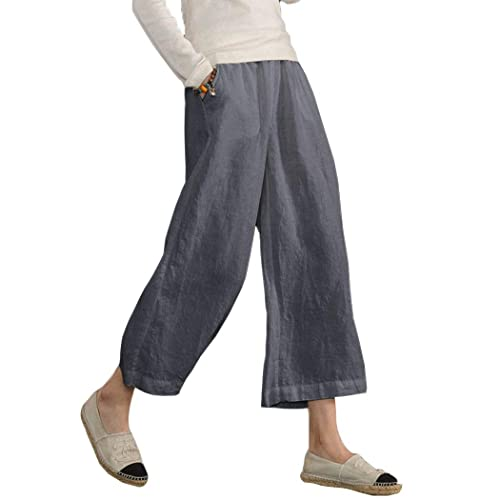 ed1d03ccba68c Ecupper Womens Casual Loose Plus Size Elastic Waist Cotton Trouser Cropped  Wide Leg Pants