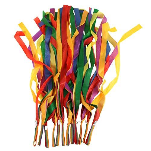 12 PCS Cinta de colorido ritmo danza del arco iris para niños decoración de fiesta de baile 1m Longitud