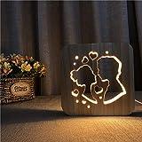 Solo 1 pieza 3D lámpara de madera con forma de corazón luz de noche de madera nórdica lámpara de escritorio LED hueca blanca cálida fuente de alimentación USB