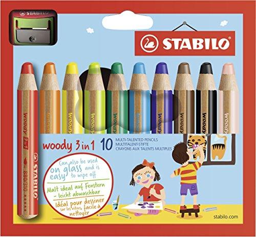 STABILO Buntstift, Wasserfarbe & Wachsmalkreide - woody 3 in 1 - 10er Pack mit Spitzer - mit 10 verschiedenen Farben