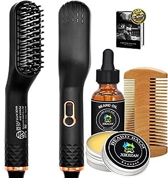Beard Straightener w/Beard Balm & Beard Growth Oil & Beard Comb & Beard E-Book,Patented Design 3 in 1 Hair Straightener Brush Beard Straightening Comb,Unique Stocking Stuffers Gifts for Men Women Him