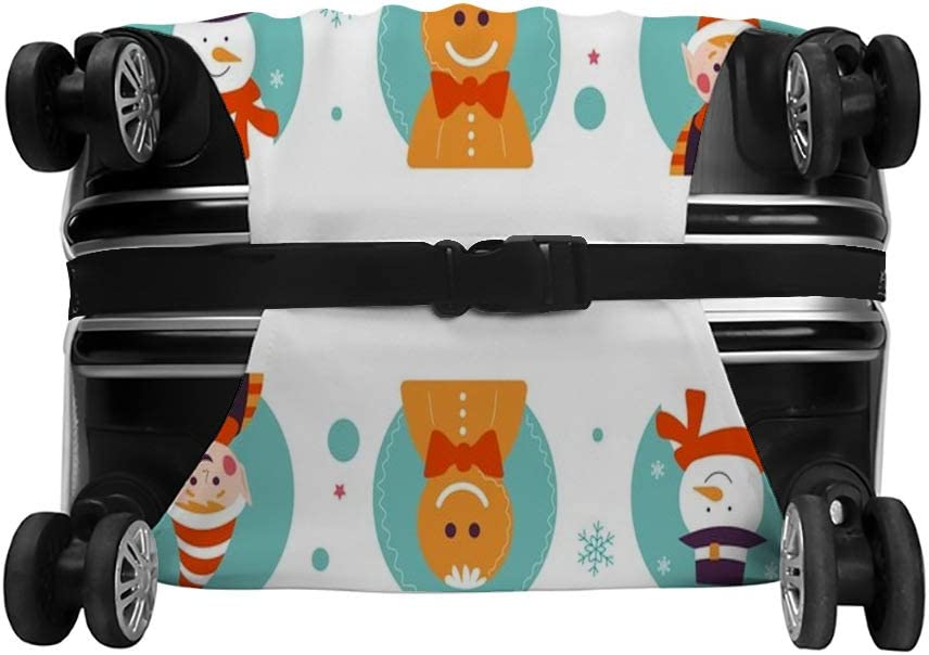 Zhongji Luggage Cover Trolley Case Protective Cover Merry Christmas winter holiday traditional characters in frames Protective Washable Suitcase Cover Suitcase Protector