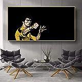 fdgdfgd Lienzo Decorativo Pintura al óleo Kung Fu Superestrella Bruce Lee...