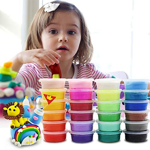 KOROSTRO Kinderknete, Lufttrockenen Lehm Kinderknete No-Sticky& Nontoxic DIY Basteln & Modellierung, Kinder Jungen Mädchen Spielzeug Geschenk 24 Farben Springknete Clay