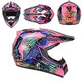 Dgtyui Casco da moto di alta qualità per bambini e ragazze, bici protettiva, caschi da motocross in discesa possono essere usati come regali di festa - Rosa 5 X XL