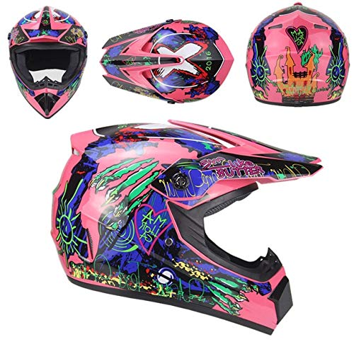 MYSdd Neuer Offroad Motorradhelm für Erwachsene Offroad Downhill Mountainbike Rennhelm Crosshelm High Density Schaumfutter - Pink 5 XL