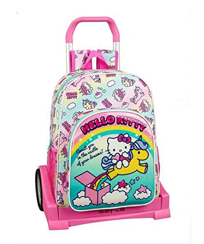 Hello Kitty Candy Unicorns Mochila con Carro Ruedas Evolution, Trolley