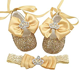 Unique Backstrap Bowknot Baby Girls Baptism Christening Shoes Little Princess Mary Jane Dress Shoes with Headband for Keepsake Gift Set