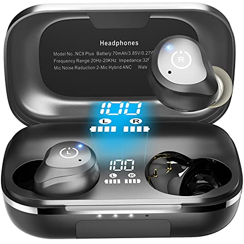 TOZO NC9 Plus Hybrid Active Noise Cancelling Wireless Earbuds, ANC in Ear Headphones IPX6 Waterproof Bluetooth 5.0 Stereo Earphones, Immersive Sound Premium Deep Bass Headset,Black