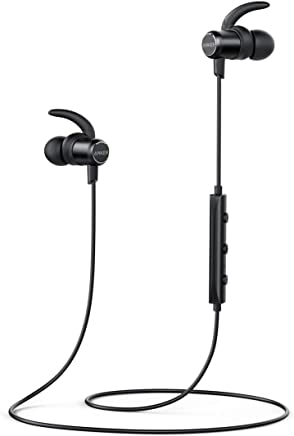 Anker SoundBuds Slim Wireless Headphones, Lightweight IPX5 Sweat Resistant Earbuds, Magnetic Connection, Nano Coating, High-Fidelity Sound, Built-in Mic, Bluetooth 4.1 Headset for Sports