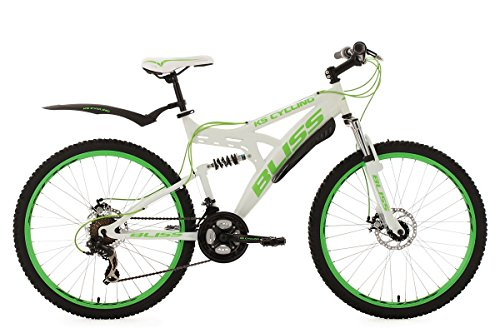 KS Cycling Bliss VTT tout suspendu 26' Blanc/Vert TC 47 cm