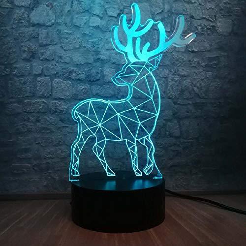 Christmas Gift Santa Claus ELK Deer 3D USB LED Lamp Elk Deer Colors Changing Desk Night Light Bluetooth