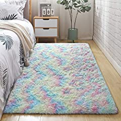 Soft Colorful Rug: Look at the vivid and attractive rainbow rugs. The vibrant rainbow vision pattern which can easily catch your child eyes on it. The fluffy velvet surface plus 8mm thick sponge-filled that can ensure your kids roll or play on a cozy...