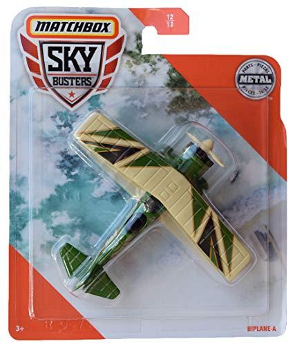 Matchbox Sky Busters Biplane A #12/13, Green/tan