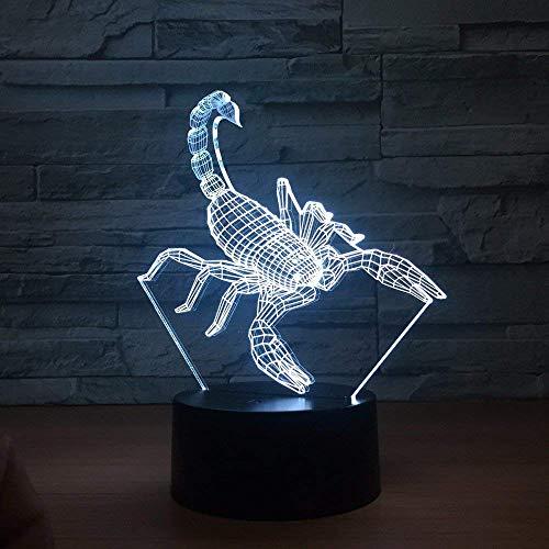 MQJ Scorpion Lámpara de ilusión 3D para niños y niñas, regalo 3D luz nocturna para dormitorio al lado de la mesa, 16 LED que cambian de color