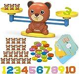REMOKING Juego de juguetes para niños con báscula matemática, con osos, tarjetas, números y monedas, juguete educativo regalo para niños y niñas (3+).