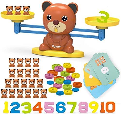 REMOKING Kinderspielzeug, Mathe Waage Spielzeug Set mit Bären, Karten, Zahlen und Münzen, Lernspielzeug Geschenk für Kinder Junge Mädchen (3+)