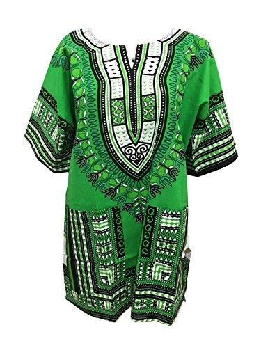 African Dashiki Shirts für Männer und Frauen African Kurzarm Dashiki Traditional Print African Summer Wear (Green)