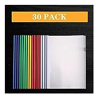 ファイルフォルダ バーレポートカバーをスライドして30個透明なプラスチックファイルフォルダ、A4サイズ用紙、60シート容量のためのプレゼンテーションファイルフォルダーオーガナイザーバインダーを再開 拡張可能なファイルフォルダ (Color : A)