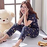 lxylllzs Vario Estilos Pijamas Mujer,Pijama de algodón de Manga Corta de Verano para Mujer, Ropa Casual Delgada para el hogar-M_H,Pijama con Botones de
