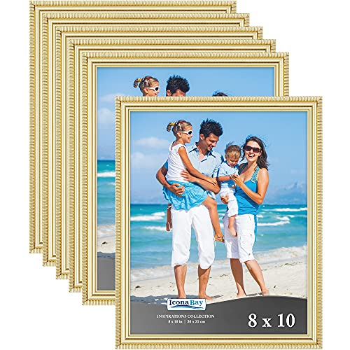 Icona Bay 8x10 Picture Frames (Gold, 6 Pack), Beautifully Detailed Molding, Contemporary Picture Frame Set, Wall Mount or Table Top, Inspirations Collection