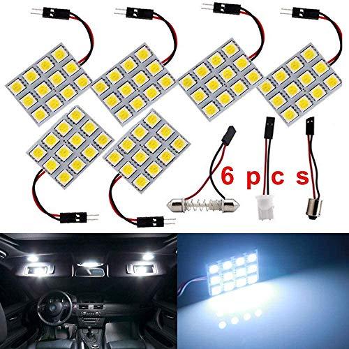 DEFVNSY - Confezione da 6 -Bianco 150 Lumen 5050 12SMD RV Illuminazione per interni Lampadina a LED per pannelli 12V DC Plafoniere con mappa a cupola con adattatori a festone T10 / BA9S