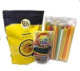Qbubble Tea Mango Powder 2.2 Pound With 50pcs Bubble (Large) Straw and WuFuYuan - Tapioca Pearl...