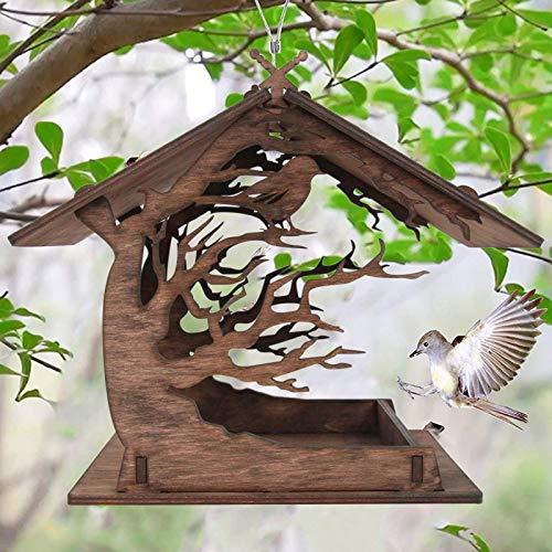 Hanomes Vogelfutterhaus Holzhaus Handarbeit aus Natur-Holz für Gartenvögel wetterfest, naturbelassen Vogelhaus zum Aufhängen im Garten und Balkon Hof Villa Balkon Vogelhäuschen