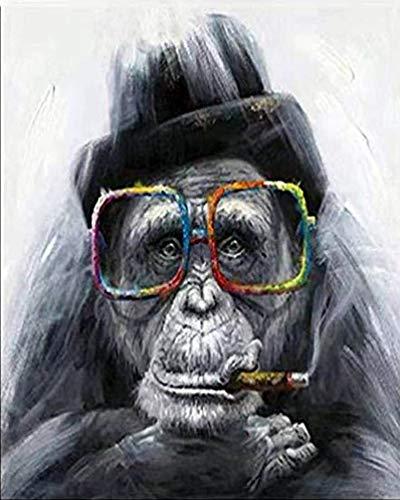 PPTRTYQ Malen nach Zahlen Erwachsene Kinder,Künstlerischer Farbiger Gorilla 16 x 20 Zoll Leinen Segeltuch, DIY ölgemälde Urlaub Handgemalte Geschenke Spielzeug malen Hauptdekoration (Ohne Frame)