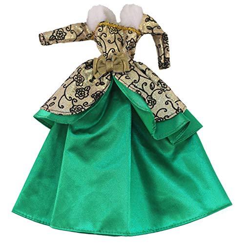 Icegrape Doll Party Jurk Gouden Groene Jurk Lange Mouw Maxi Robe Pop Kleding Party Jurken voor 11.5 inch Meisje Poppen