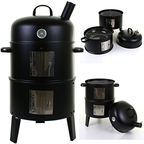 Black BBQ Charcoal Grill Barbecue Smoker Garden Outdoor Cooking Steel Thermostat