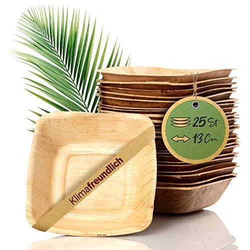 palmenwald© 25 Stück kompostierbares Einweggeschirr aus umweltfreundlichen Palmblättern - ALTERNATIVE zu Plastikgeschirr 13cm (340ml) Salatschüssel Suppenschale Servierschale Snackschale Einwegschale