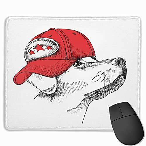Gaming-Mauspad, Premium-strukturierte Mauspad-Pads, niedliches Mousepad für Spieler, Büro- und Heim-Baseball-Porträt eines Hundes in Red Cap Animal Beautiful