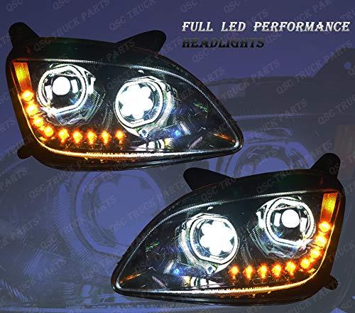 QSC Full LED Performance Black Headlight Assembly Pair for Peterbilt 579 587