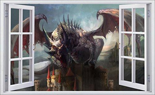 DesFoli Drache Dragon 3D Look Wandtattoo 70 x 115 cm Wanddurchbruch Wandbild Sticker Aufkleber F624