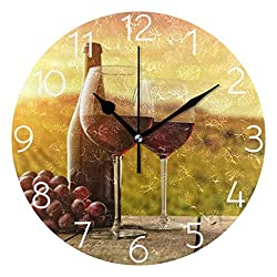 AGONA Vintage Red Wine Grape Wall Clock, Art Wall Clocks Battery Operated Non Ticking Silent Wall Clock Decorative for Living Room Decor Kitchen Kids