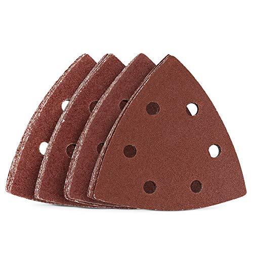 Navaris Set de 25x papel de lija triangular - Hojas de recambio para lijadora delta de mano de 93 MM - Surtido de repuestos de grano de P40 a P100