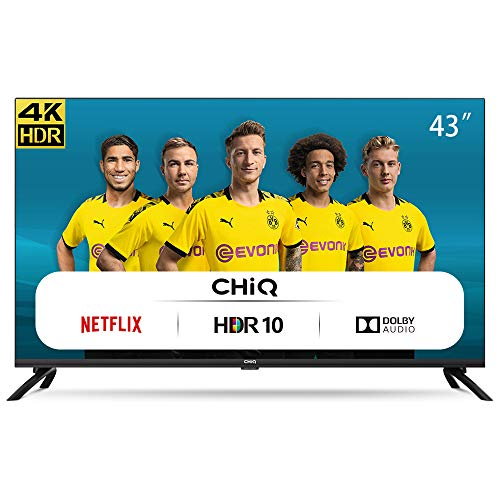 CHiQ Televisor Smart TV LED 43 Pulgadas, Resolución 4K UHD, HDR 10/HLG, WiFi, Bluetooth (Solo Auriculares y Altavoces), Netflix, Prime Video, Youtube, HDMI ARC, USB - U43H7L