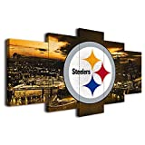 Pittsburgh Steelers American Football Poster Canvas Prints Wall Art Decor Living Room Artwork Posters Bedroom Large Wall Art Picture (20x30x2pcs+20x45x2pcs+20x60cmx1pcs,Wooden Framed)