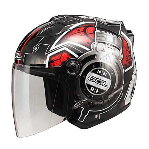 Personalidad Unicornio/Auriculares Cascos Moto Half-Helmet con Luz de Advertencia LED, Transpirable Impermeable Hombres Mujeres Casco Jet ECE Certificado M-2XL (55-62cm) Negro Rojo,DJ,XL