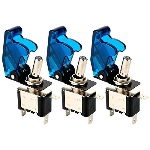 Gebildet 3 pièces Interrupteur à Bascule DC12V-24V 20A, avec Capuchon étanche + LED Bleue, SPST Métal Interrupteur à Levier, on/Off 2 Positions 3 Broches, Utilisé pour la Voiture Auto Camion Bateau