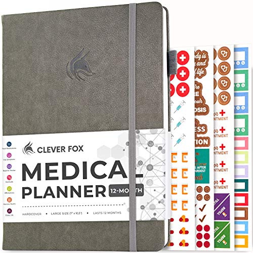 Clever Fox Medical Planner 12-Month – Medical Notebook, Health Diary, Wellness Journal & Logbook to Track Health – Self-Care Medical Journal – 12 Months, Undated, 7″ x 10.5″ Hardcover (Grey)