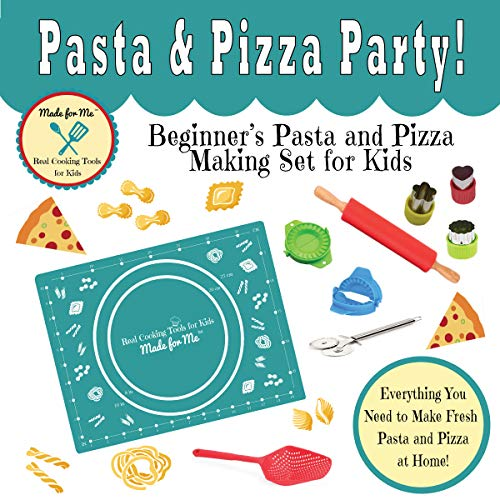 Kids Cooking - Pasta & Pizza Party! - Beginner's Pasta & Pizza Making Set for Children w/Easy Recipes & Instruction Guide/from the makers of Pancake Party Art Kits & Beginner's Kids Chef Knife!