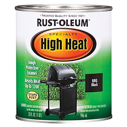 Rust-Oleum 7778502 Heat Protective Enamel, Quart, Bar-B-Que Black, 32 Fl Oz