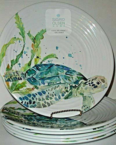 Sigrid Olsen Sea Turtle Melamine Dinner Plates Set of 6