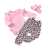 Kids4ever 3 Stück Mädchen Bekleidungssets Neugeborene Birthday Bodysuit Outfits Strampler Tops Aufdruck Leopard Hose and Haarband Jumpsuit Babykleidung Set für 0-6 Monate