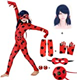 SAGEIVE Girls Costume Child Cosplay Black Spot Red suit with Blue Hair for Birthday Gifts 9Pcs Sets (Red Suit + Blue Hair + Earrings, Small)