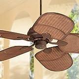 "52"" Retan Rustic Tropical Outdoor Ceiling Fan Rust Brown Rattan Blades Wet Rated for Patio Porch - Casa Vieja"
