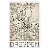 artboxONE Poster 30x20 cm Städte Retro Map Dresden City