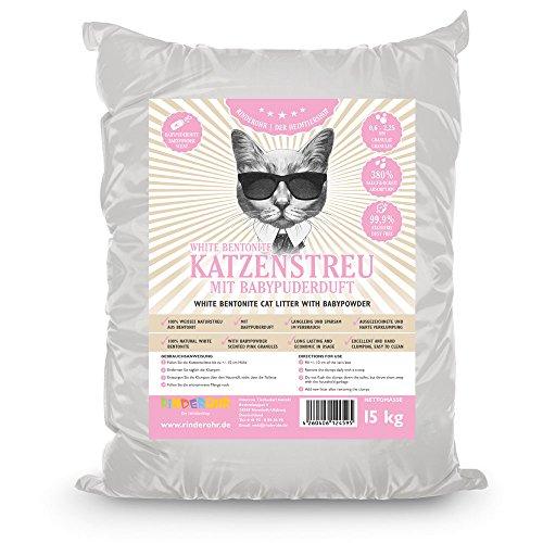 Rinderohr White Katzenstreu mit Babypuderduft 15kg